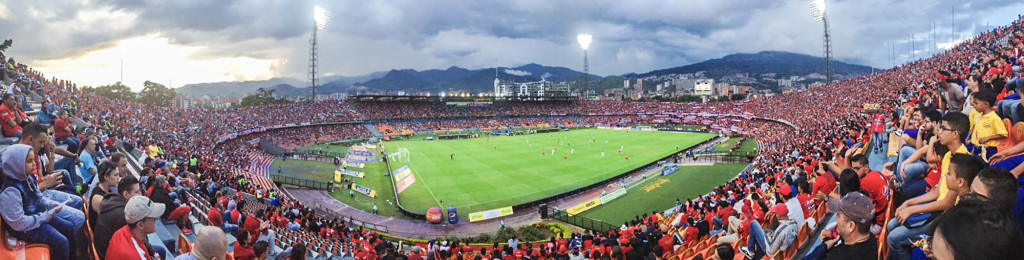 Panoramic of the boys at Estadio Atansio Giradot in Medellin Colombia