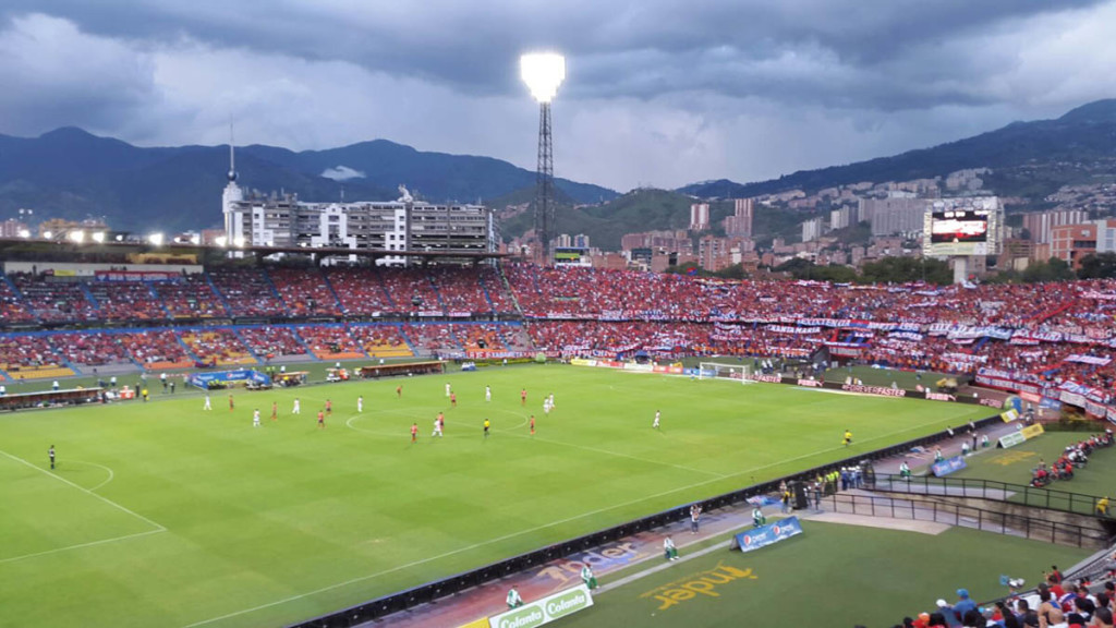 Soccer game at Estadio Atansio Giradot in Medellin Colombia