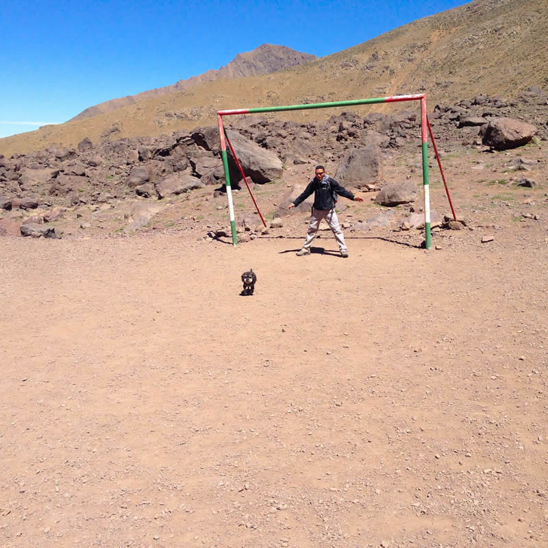 Willie hikes up the Atlas Mountains in Imlil Morocco and finds a soccer field