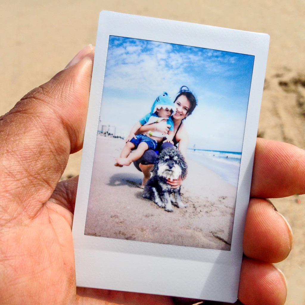Polaroid of Willie and his friends on Fort Lauderdale Beach