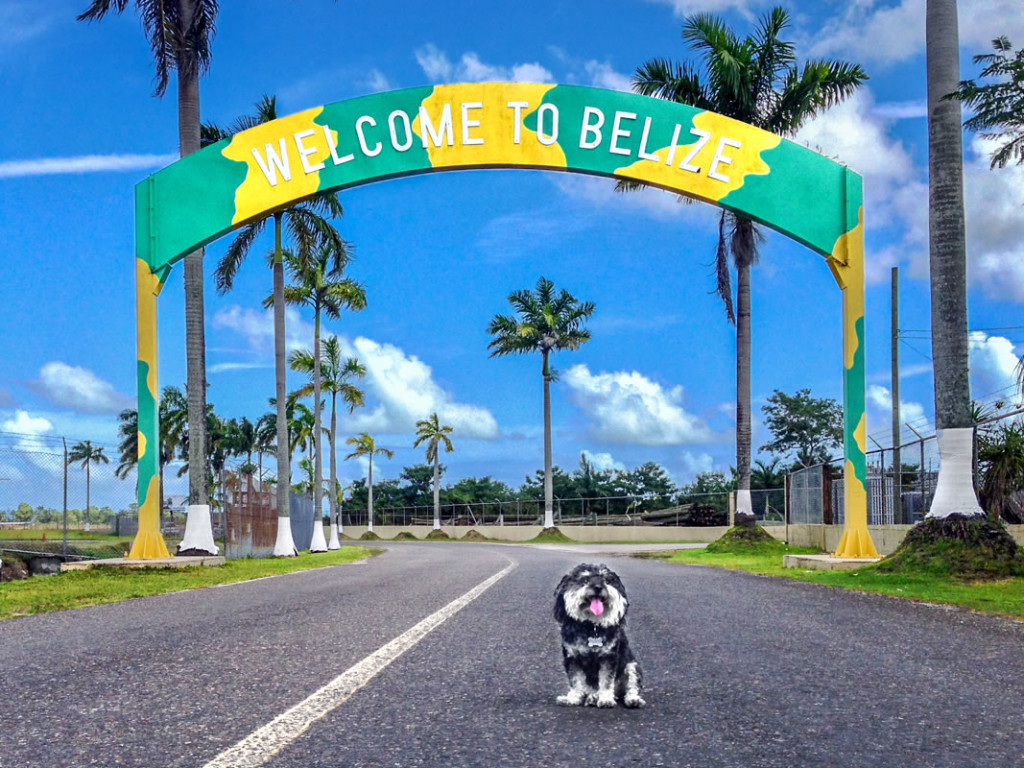 Willie at the welcome sign outside the airport in Belize City, Belize