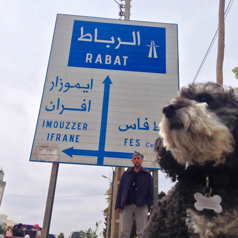 Willie at a street sign in Morocco
