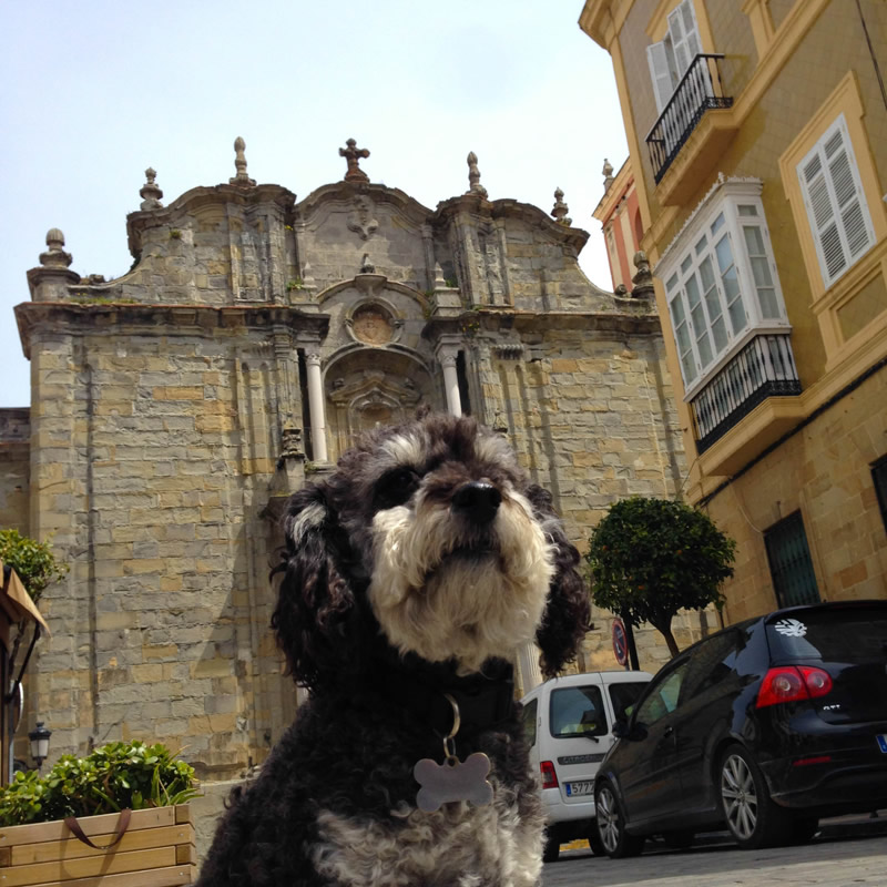 Willie outside the church of Tarifa Spain