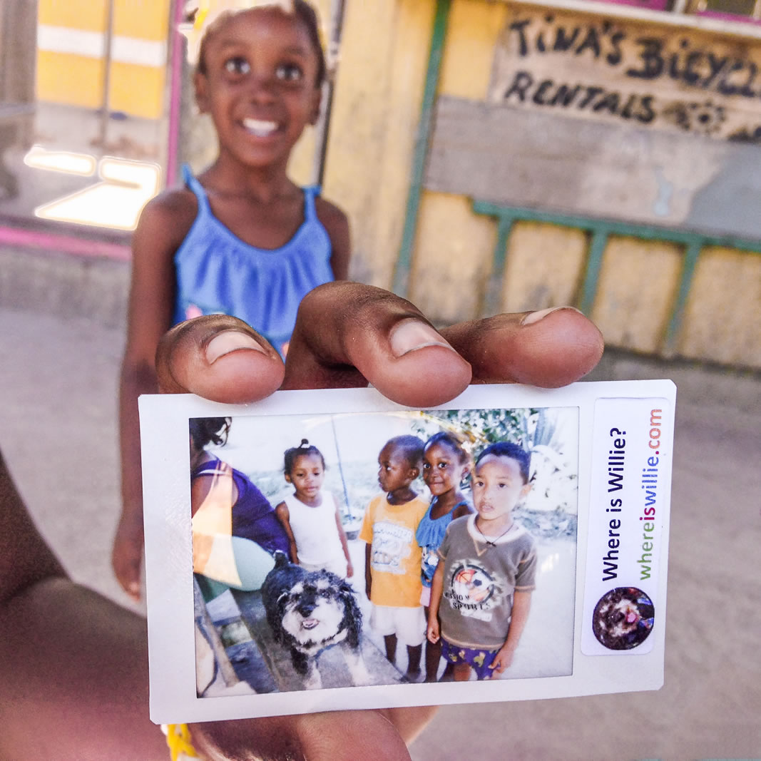 Polaroid of Willie and the kids of Hopkins Belize