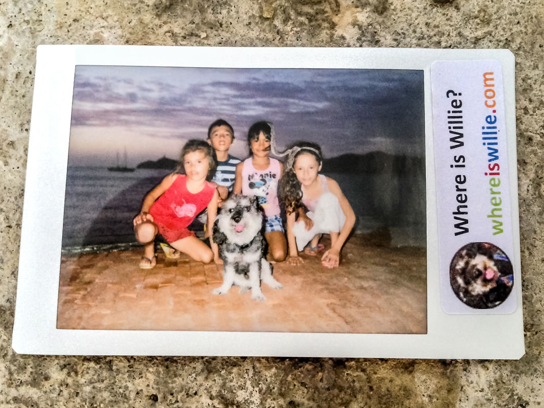 Polaroid of Willie with local kids in Santa Marta Colombia