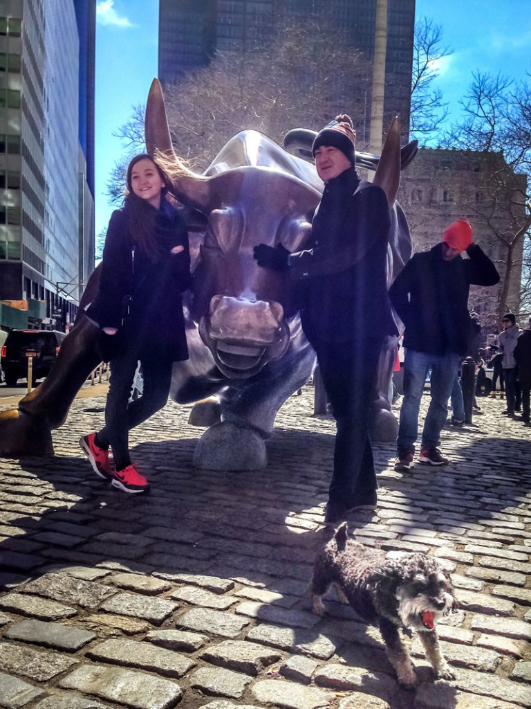 Willie imitates the Wall Street Charging Bull in New York City