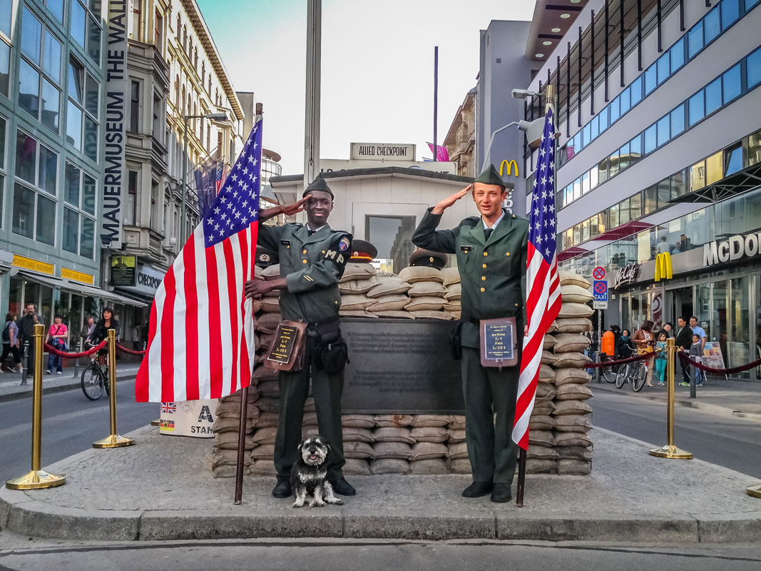 Willie with solidiers at Checkpoint Charlie in Berlin Germany