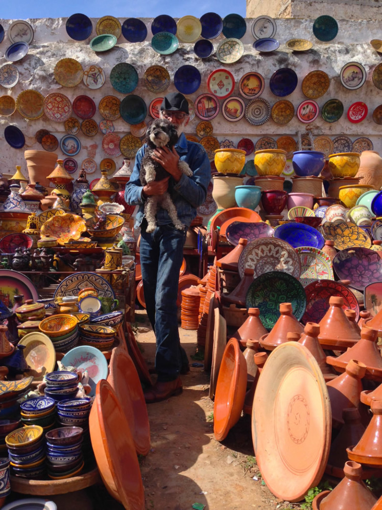 Willie at the pottery tajine market in El Jadida Morocco with Hamid