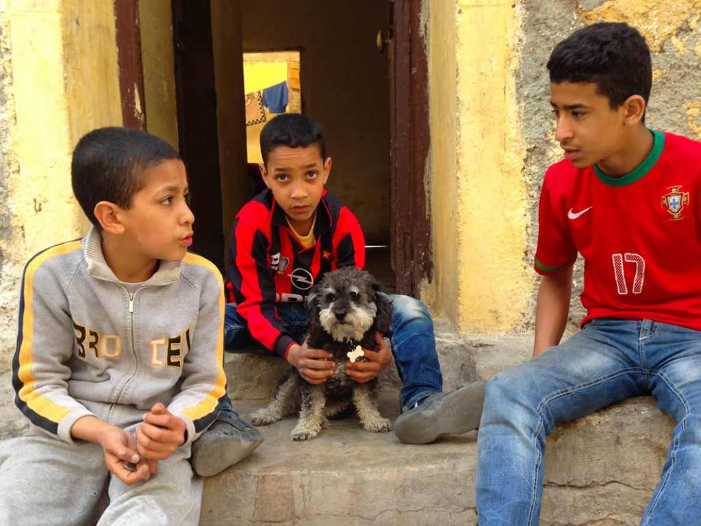 Willie hangs out with some local boys in El Jadida Morocco