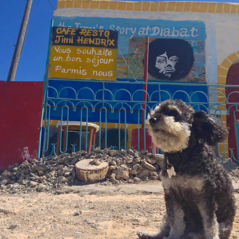 Willie at the Jimi Hendrix Cafe in Diabat Morocco