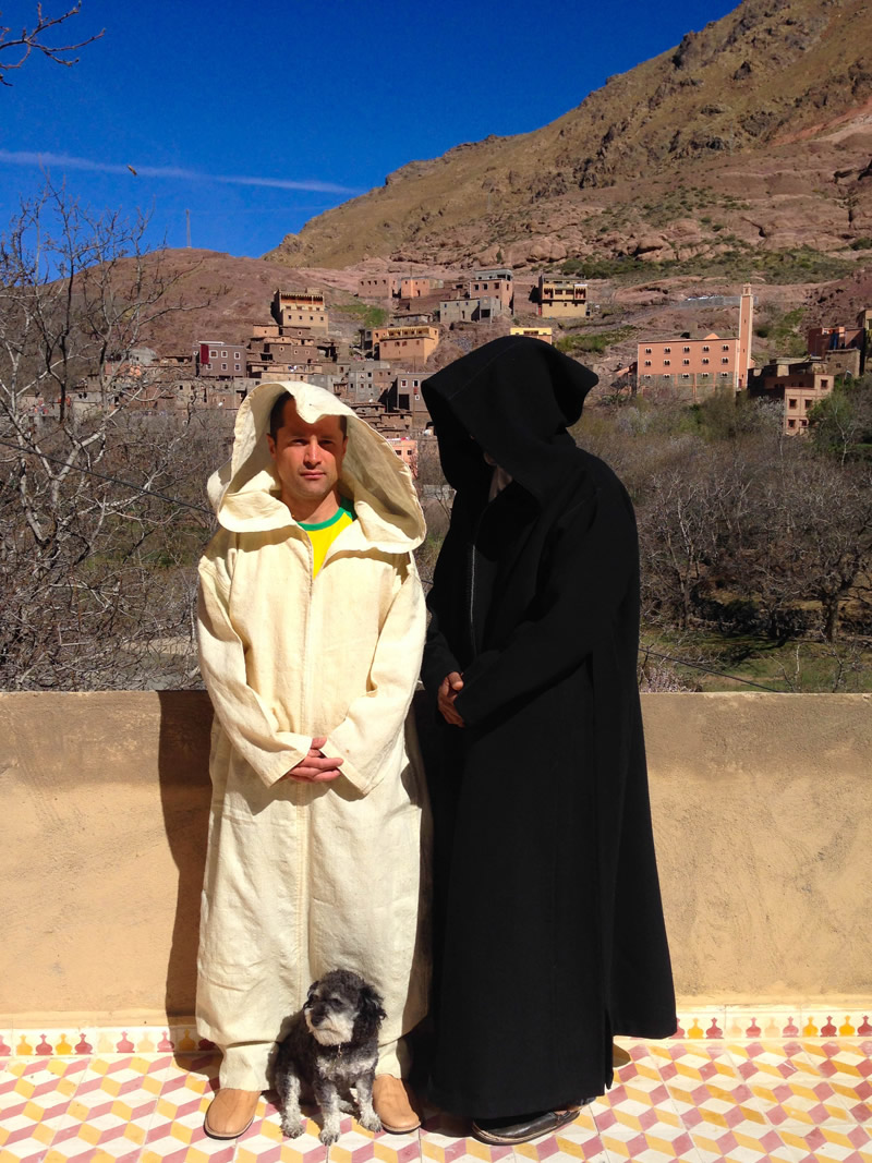 Willie dresses like locals in Imlil Morocco