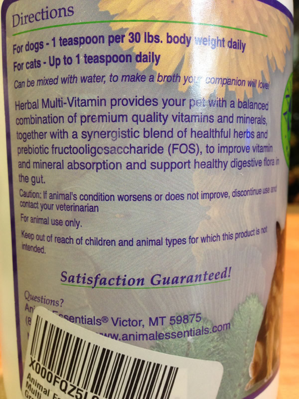 Animal Essentials Supplements Herbal Multi-Vitamin