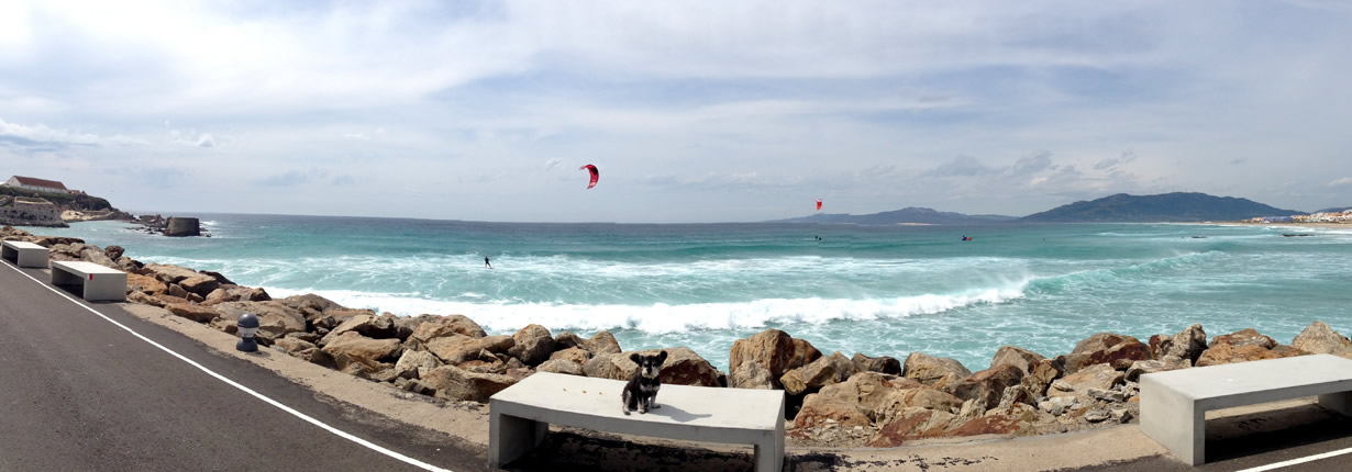 Watching the surfers on the coast of Spain in Tarifa