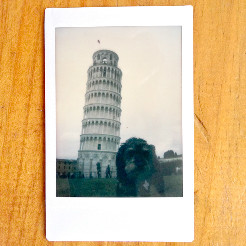 Polaroid of Willie at the Leaning Tower of Pisa Italy