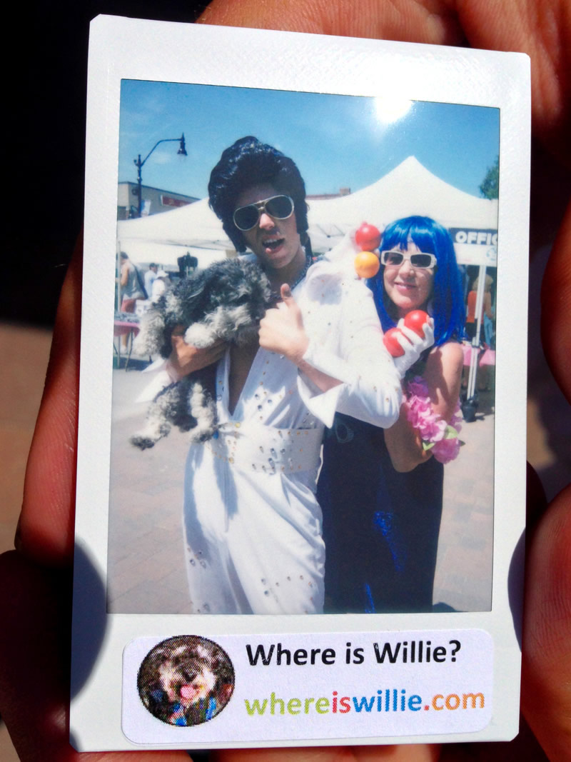 Polaroid of Willie and an Elvis impersonator at Elvis Festical in Collingwood Canada