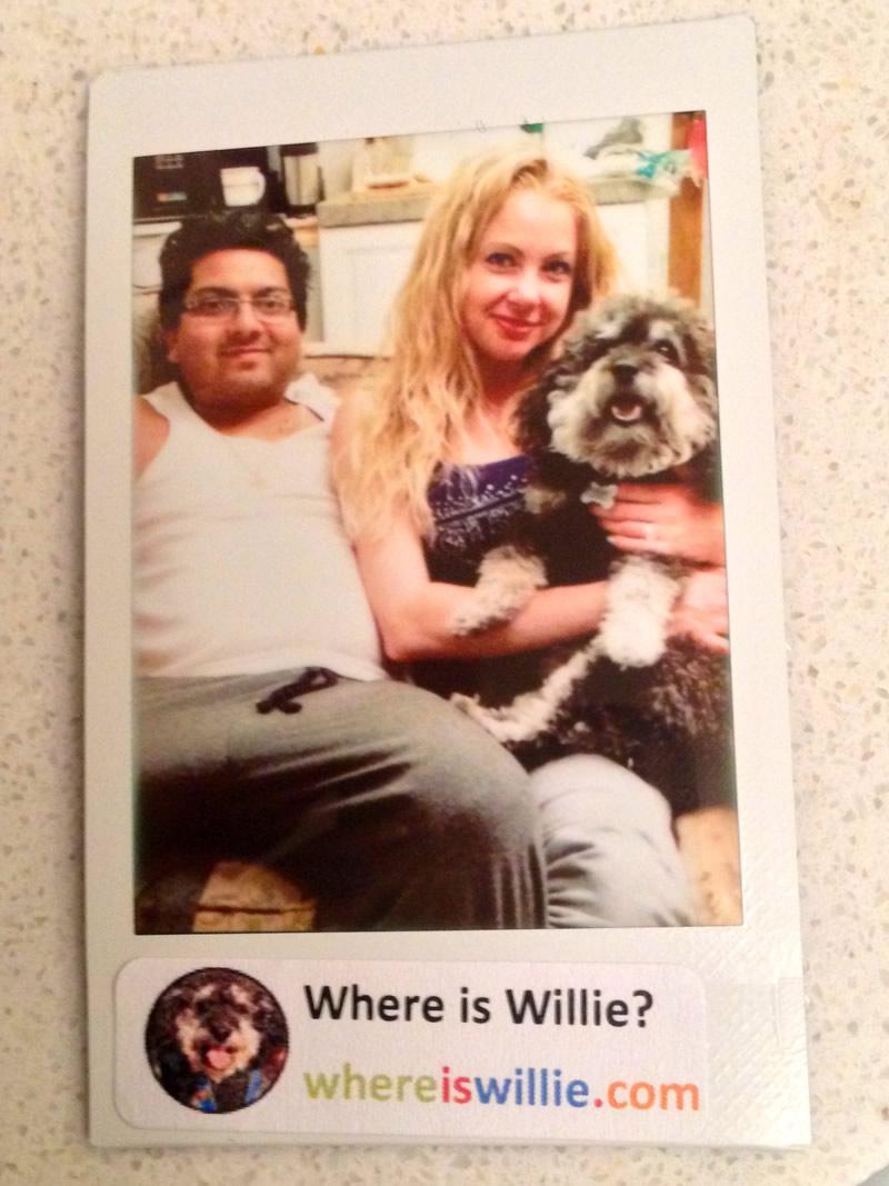 Polaroid of Willie in Wasaga Beach with Jonny and Jen