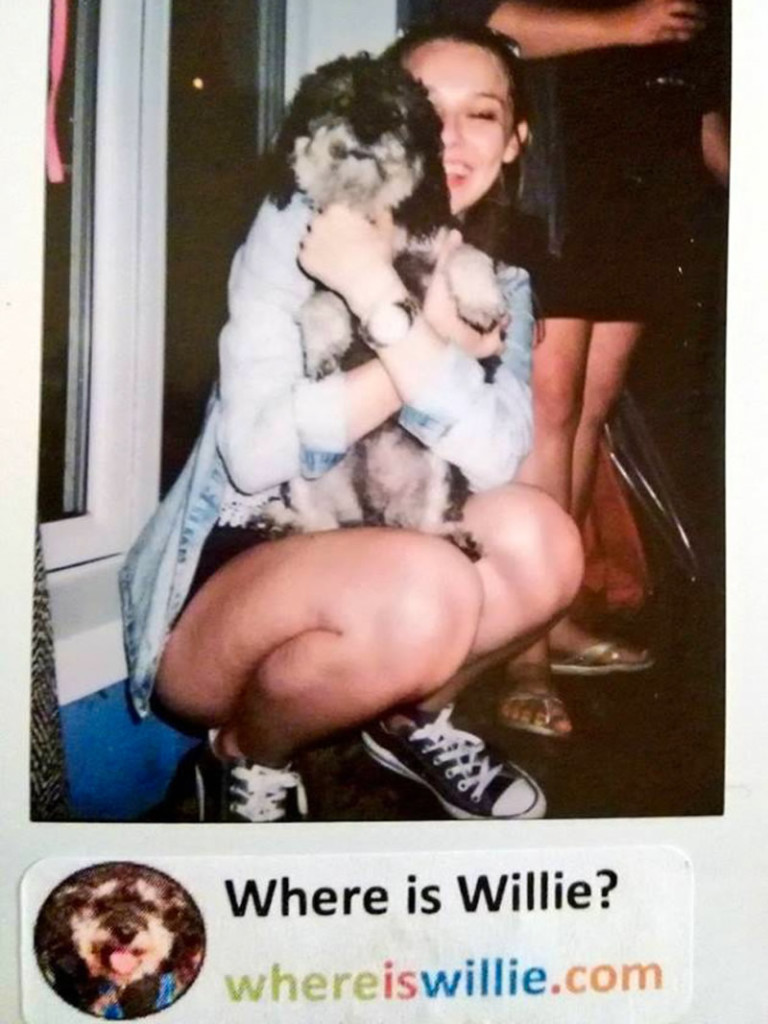 Polaroid of Willie and his new friend on Wasaga Beach Canada