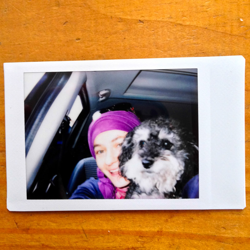 Polaroid photo with Victoria on our road trip