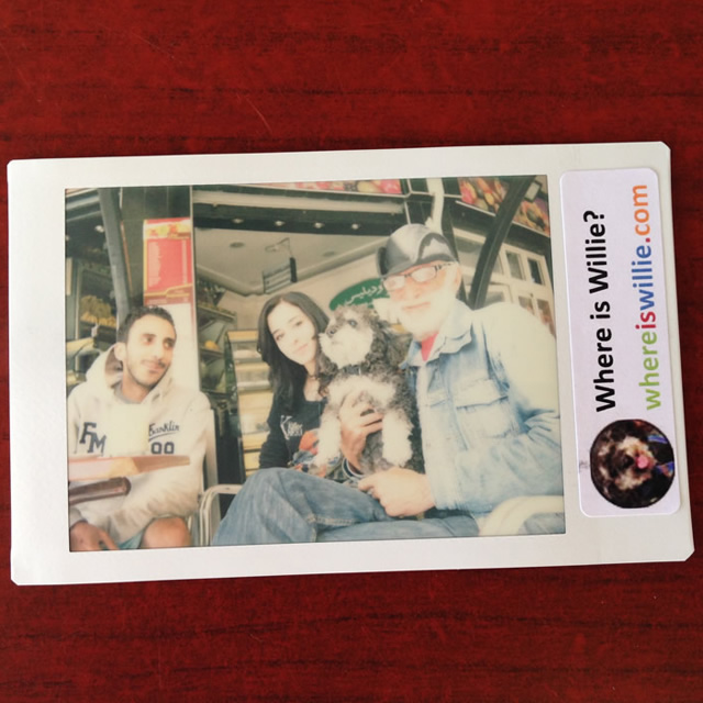 Polaroid of Willie and his local friends in El Jadida Morocco