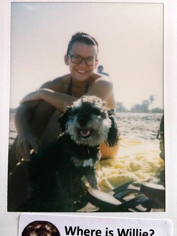 Polaroid of Willie in Bathtub Beach Florida with Sam