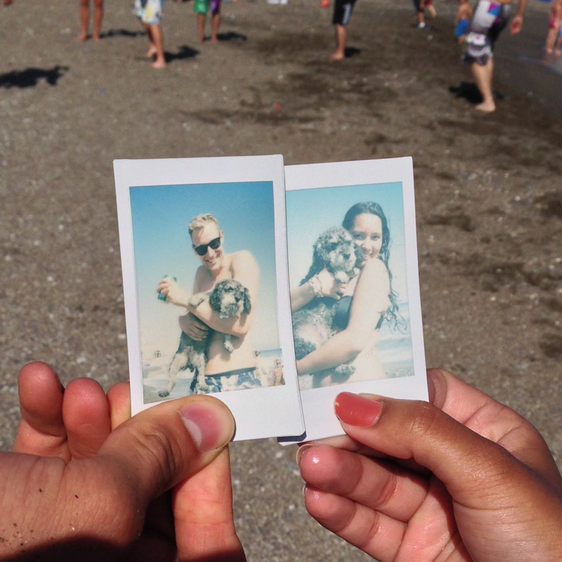 Polaroid of Willie at a beach party in Playa El Palo Malaga Spain