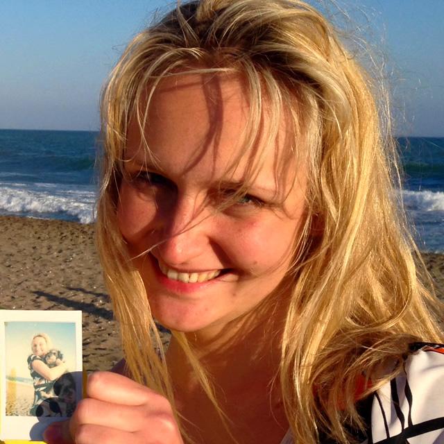 Polaroid of Willie at a beach party in Playa El Palo Malaga Spain