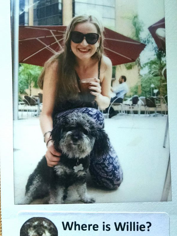 Polaroid of Isabel and Willie outside of Juan Valdez Cafe in El Poblado Colombia