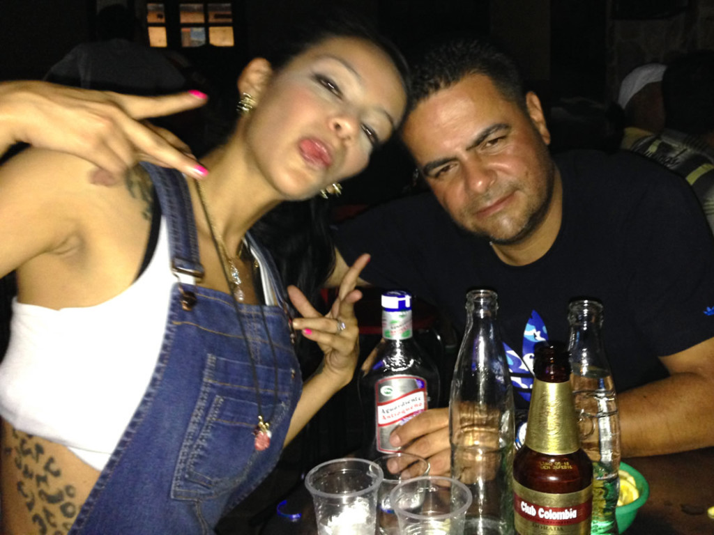 At a local bar in Cocorna Colombia with Alee and her father