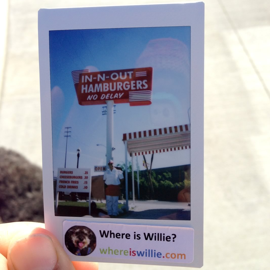 Polaroid of Willie at the first In-N-Out Burger in Baldwin Park California