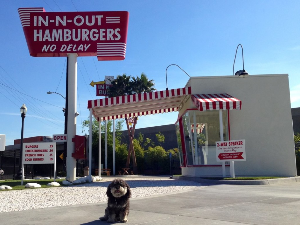 Willie stops for burgers at the first In-n-Out Burger in Baldwin Park California