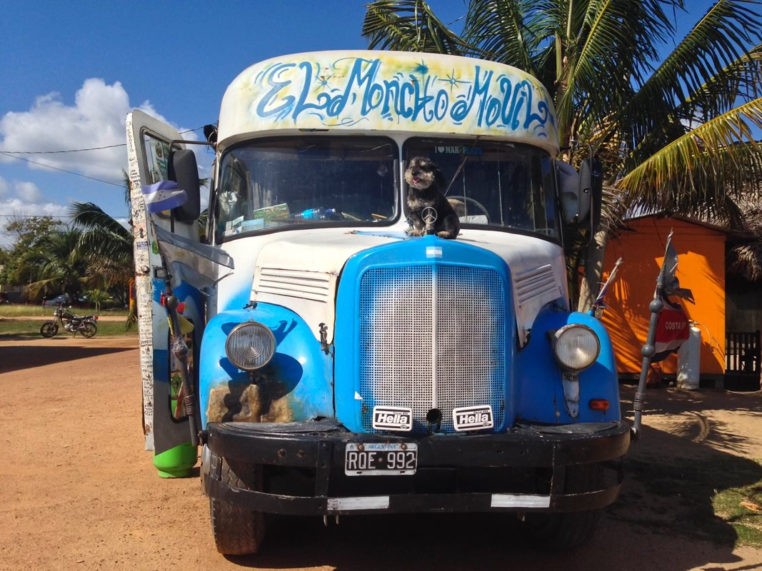 Willie on his friends bus in Hopkins Belize