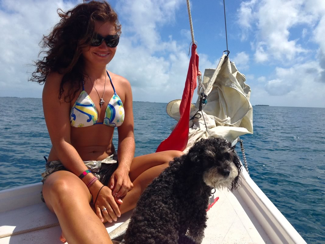 Willie with his new friend on a sailboat in Hopkins Belize