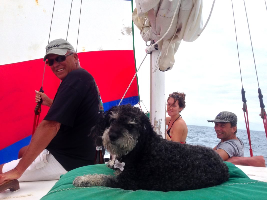 Willie sails off the coast of Belize