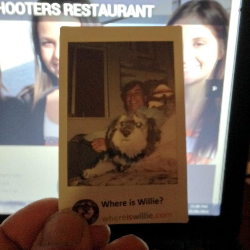 Polaroid of Willie with artisit Pierre Sabourin