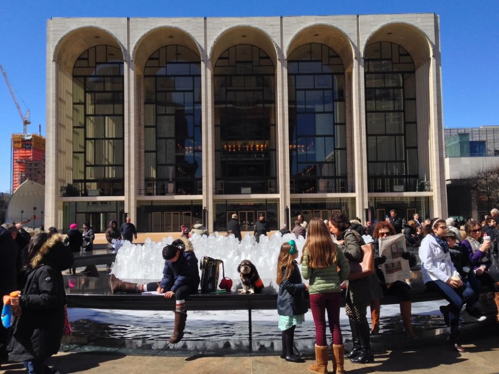 Willie outside the Metropolitan Opera House at Lincoln Centre in New York City