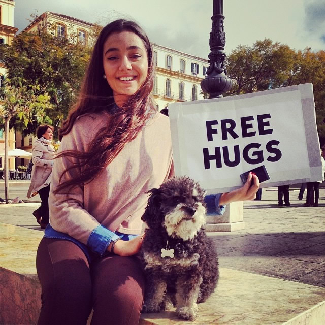 Willie gets a free hug at Plaza de la Merced in Malaga Spain