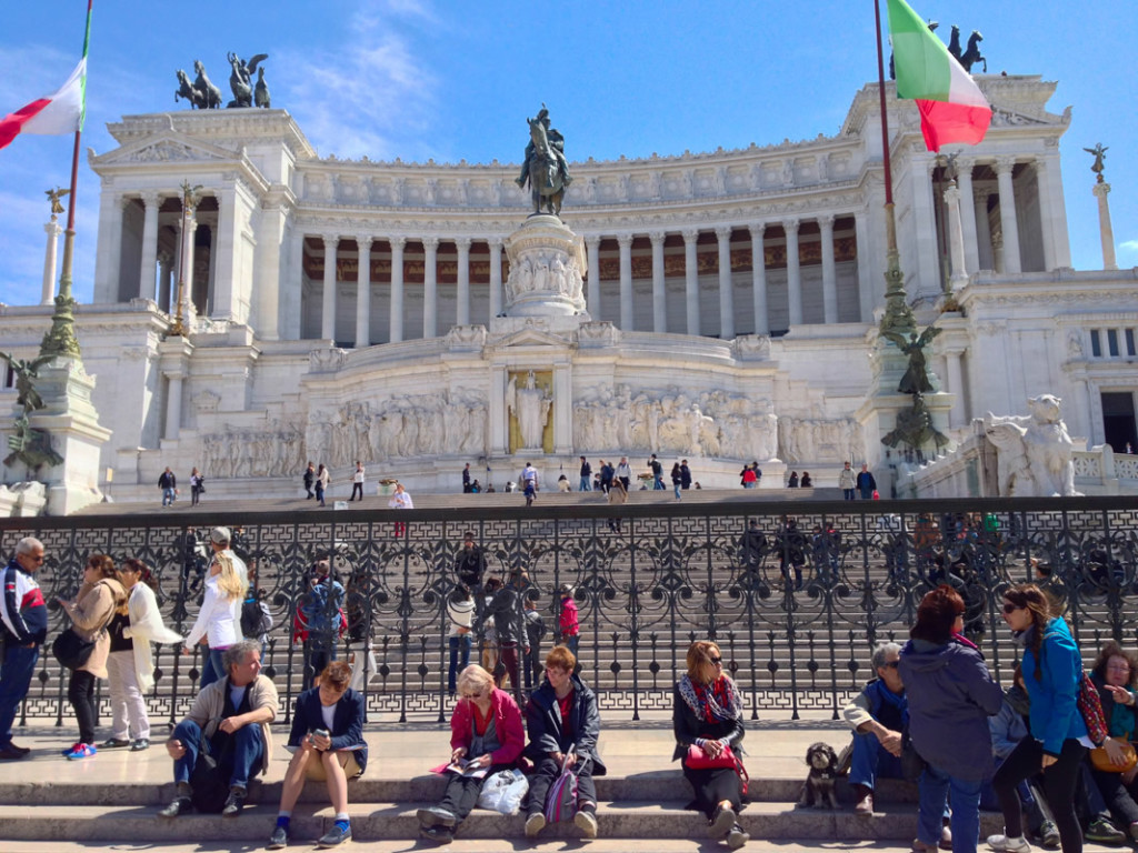 Willie sitting in front of Altar of the Fatherland - Altare della Patria in Rome Italy