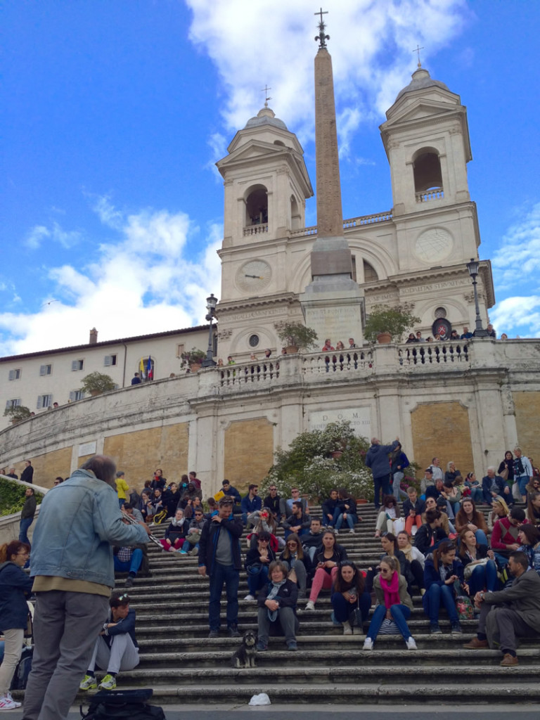 Willie sitting on the Spanish Steps in Rome Italy