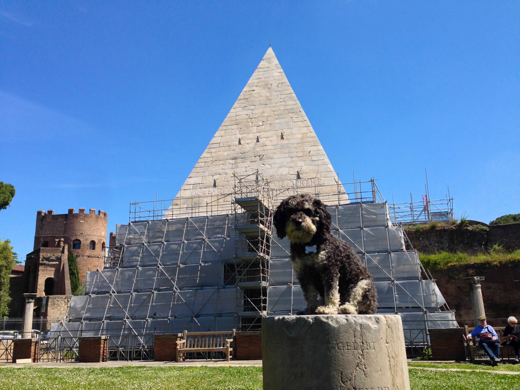 Willie in front of the Pyramid of Cestius in Rome Italy