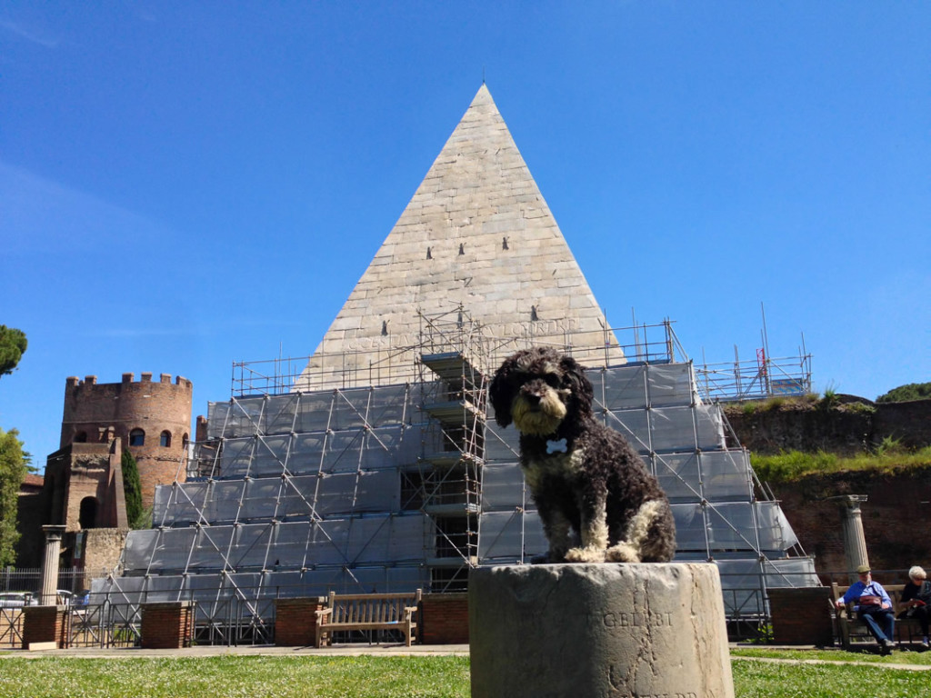 Willie at the Pyramid of Caius Cestius in Rome Italy