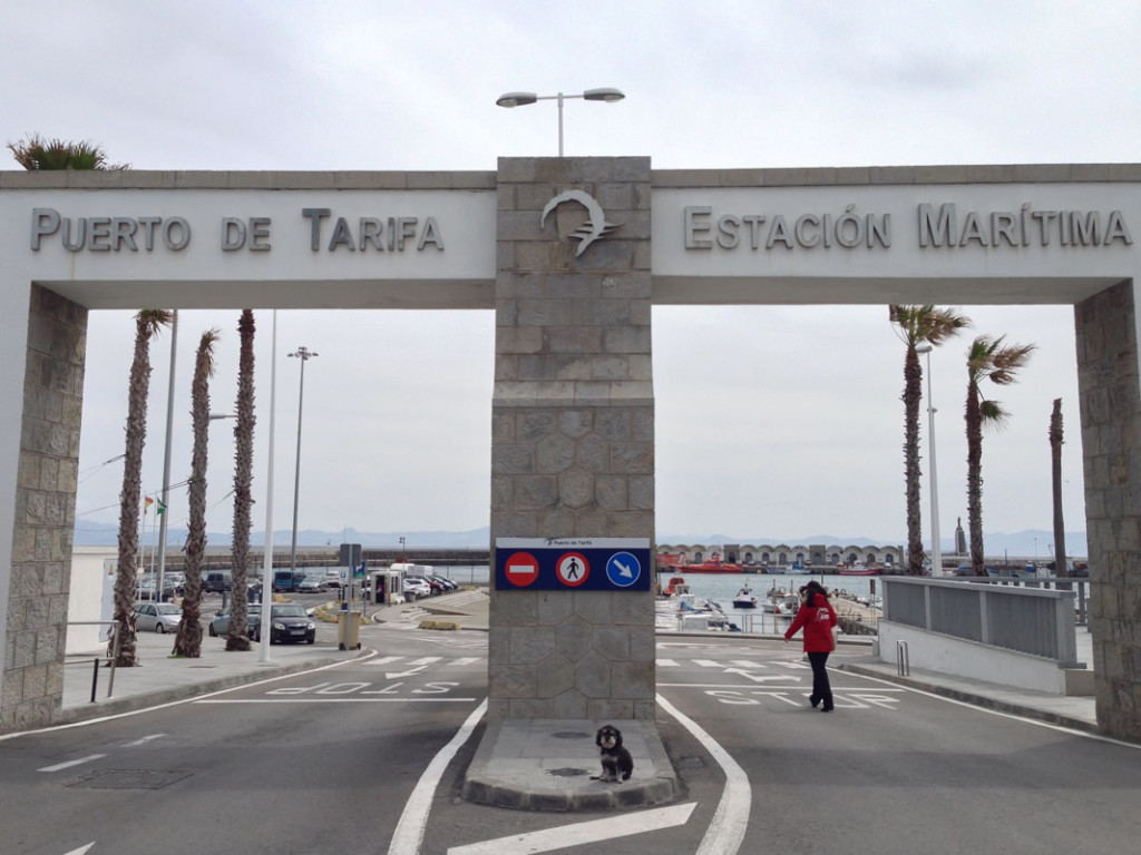 Willie at the entrance to the Port of Tarifa in Spain