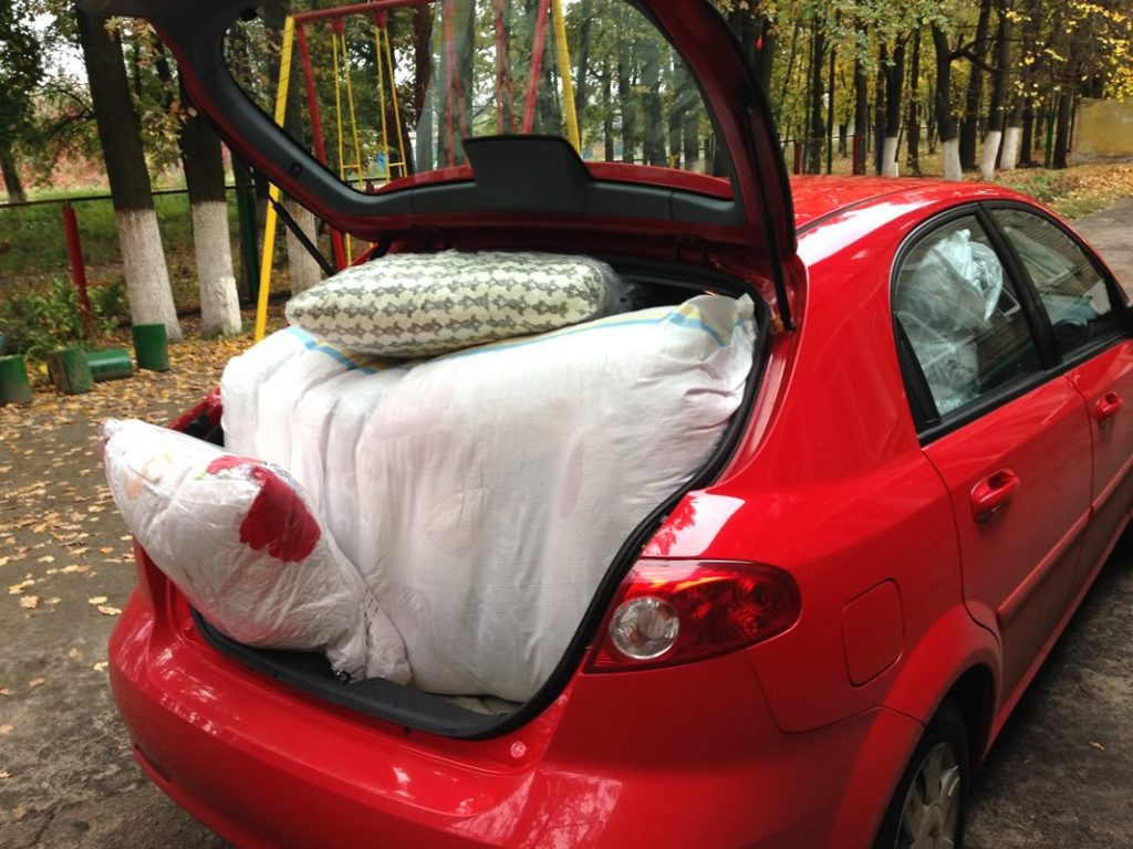 supplies fill the car in kharkiv