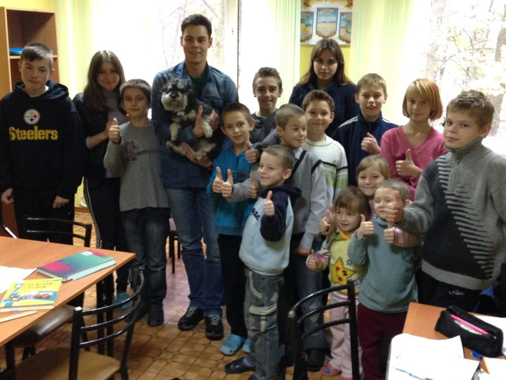 willie with the orphans of kharkiv