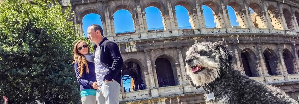 willie in rome at the coloseum