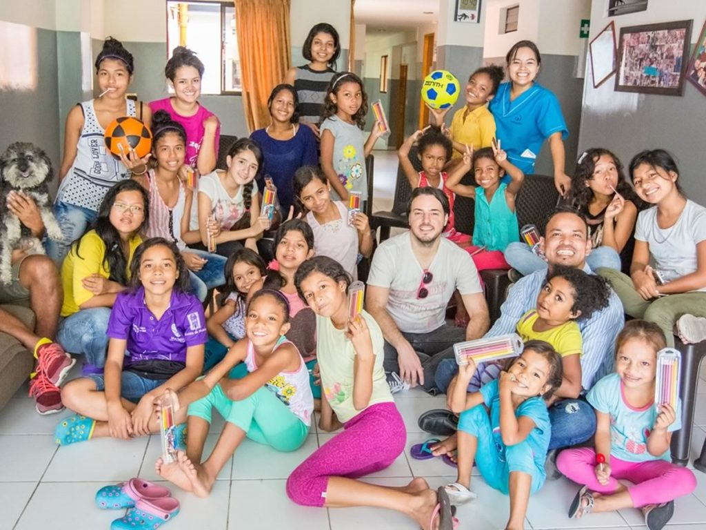 Willie visits the girls orphanage in Medellin Colombia