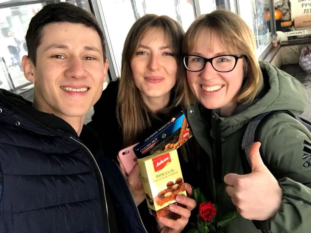 Zakhar & Kristina help Willie hand out flowers on Women's Day in Kharkiv Ukraine